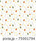 Cute Easter background with colorful eggs, spring branches and flowers 75001794
