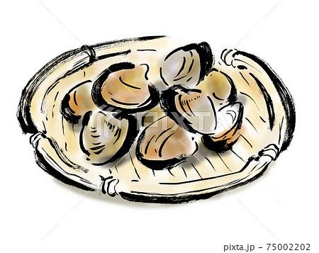 ザルに盛ったあさりの和風手描きイラスト 75002202