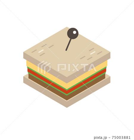 四角いサンドイッチのイラスト アイソメトリック 75003881