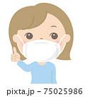 マスク着用の女性(若い女性) 75025986