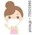 マスク着用の女性(主婦・エプロン) 75025990