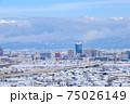 冬・雪の富山市街と立山連峰 75026149