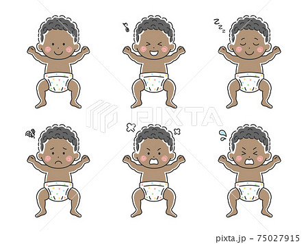 オムツをはいた黒人の赤ちゃんのイラストセット 75027915