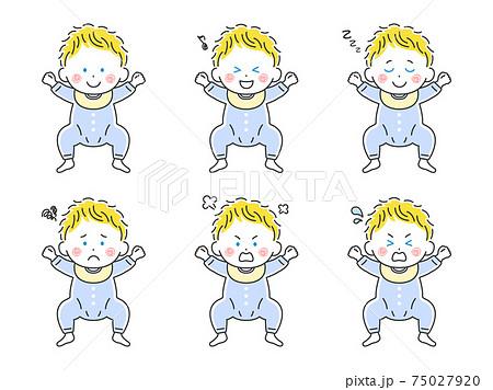 ベビー服を着た白人の赤ちゃんのイラストセット 75027920