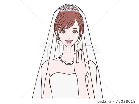 結婚指輪を見せる花嫁 75028018
