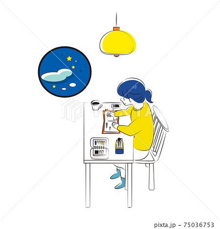 夜の手帳時間でリラックスする女性 75036753