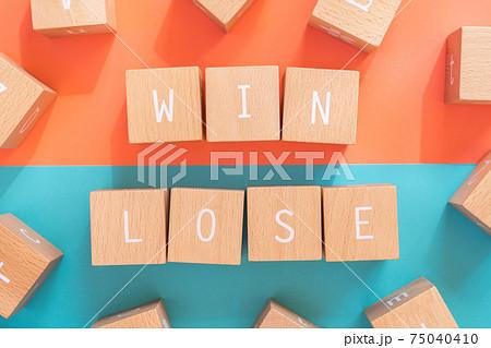 勝ち負け 「WIN」「LOSE」と書かれた積み木ブロック 75040410