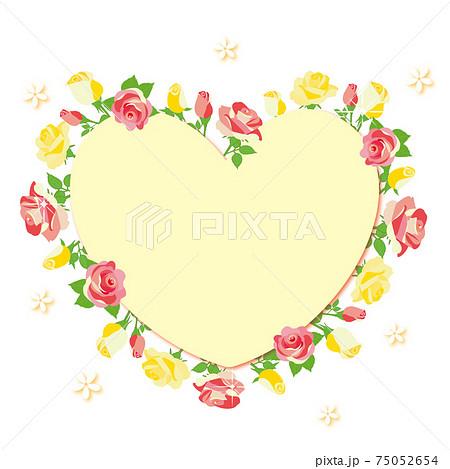 薔薇の花 ハート型のフレーム  75052654