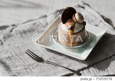 チョコレートケーキ(スイーツ、ケーキ、カフェイメージ) 75059576