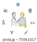 患者にワクチンを打つ医者とコロナウイルスのアイコンセット 75061017