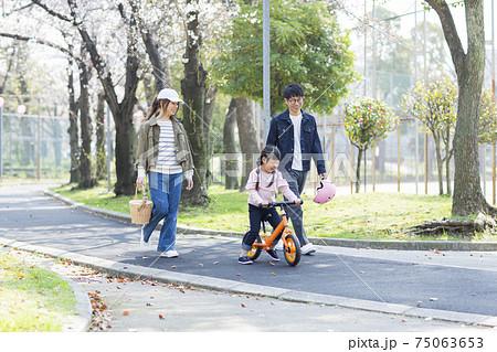 公園を散歩する家族 75063653
