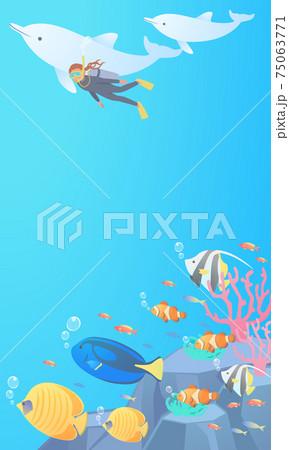 海でスキューバダイビンクをして熱帯魚に見守られながらイルカと一緒に泳いでいる女性のベクターイラスト背 75063771