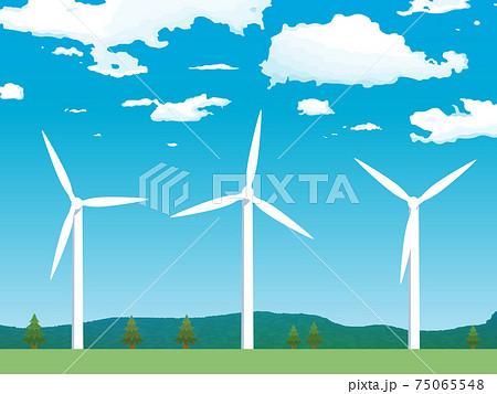 風力発電所 風車 青空 風景 イラスト素材 75065548