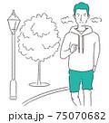 手描き1color  男性 ランニング 街路樹 75070682