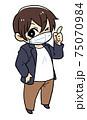 マスクをつける男性のイラスト 75070984