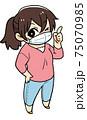 マスクをつける女性のイラスト 75070985