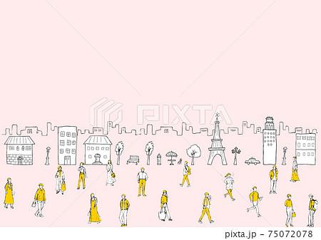 鉛筆描き 街の人々 75072078