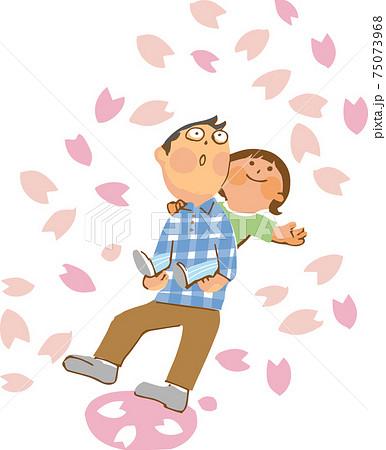 桜の花びらと親子 75073968