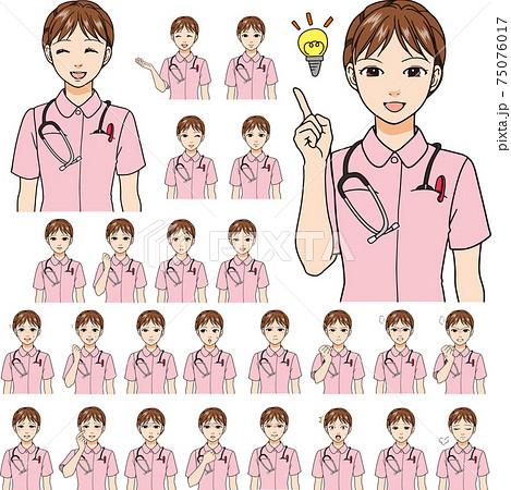 様々な表情をした女性看護師。顔26種類。 75076017