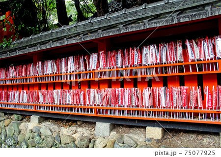 【京都】伏見稲荷大社 鳥居横にずらりと並んだ小旗 75077925