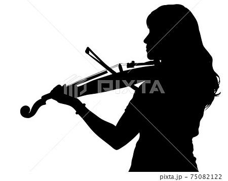 バイオリンを演奏する女性の横顔シルエット 75082122