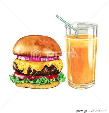 ハンバーガーとオレンジジュースのドリンクセット 【手描き水彩画】 75084307