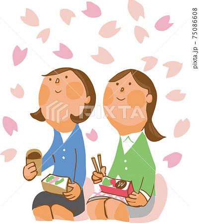 桜を見上げる女性二人 75086608