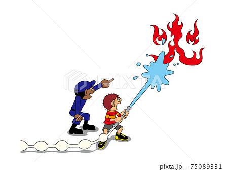 防災訓練で放水体験をする子ども 75089331