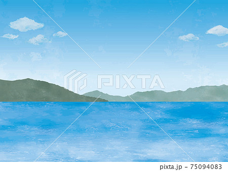 海と山の景色水彩画 75094083