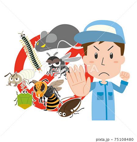 害虫をシャットアウトする害虫駆除業者の男性 75108480