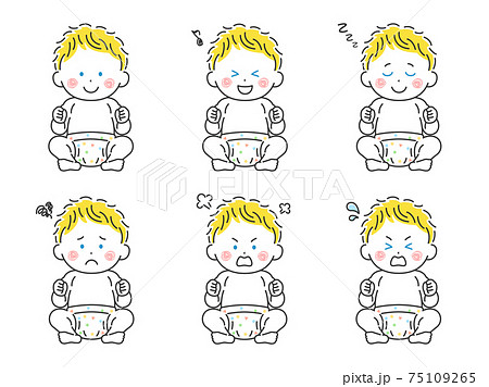 お座りをする白人の赤ちゃんのイラストセット 75109265