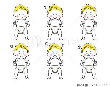 立っている白人の赤ちゃんのイラストセット 75109267