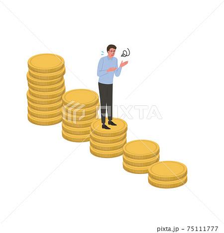 ビジネスイメージ 減るコインと困るビジネスマンのイラスト アイソメトリック 75111777
