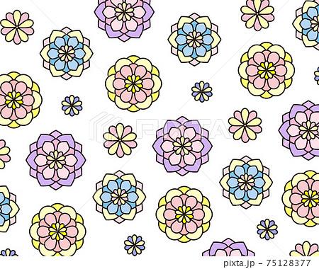 ステンドグラスみたいな花の模様の背景イラスト 75128377