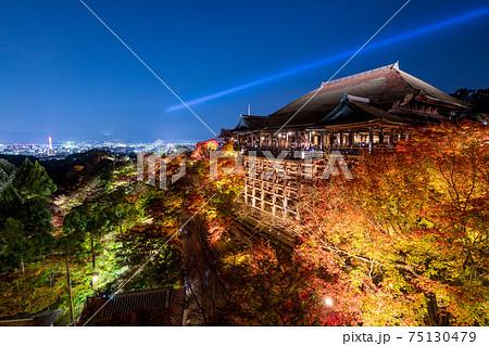 Kiyomizu dera temple ,light up in autumn, Kyoto, Japan 75130479