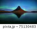 Northern light (Aurora Borealis) over Kirkjufell mountain in iceland 75130483