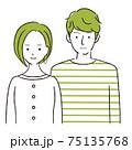 手描き1color  夫婦 微笑む 二人の若い男女 75135768