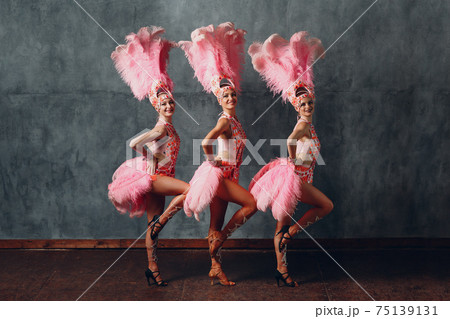 Women in cabaret costume with pink feathers plumage dancing samba 75139131