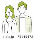 手描き1color  夫婦 微笑む ノ―カラー 2人の男女 75145478