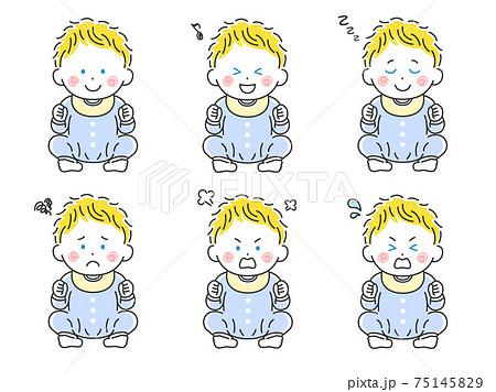 お座りをする白人の赤ちゃんのイラストセット 75145829