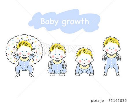 白人の赤ちゃんが成長するイラスト 75145836