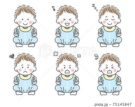 お座りをする赤ちゃんのイラストセット 75145847