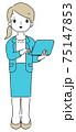 ビジネスパーソン パソコンを操作する 女性 シンプル 75147853