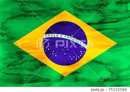 ブラジル  国旗 水彩 和紙 75153569