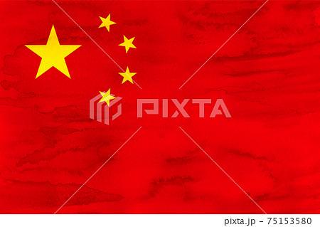 中国  国旗 水彩 和紙 75153580
