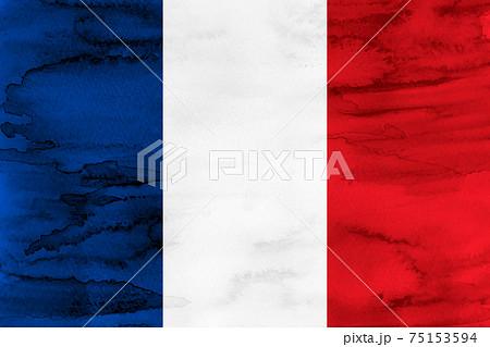 フランス  国旗 水彩 和紙 75153594