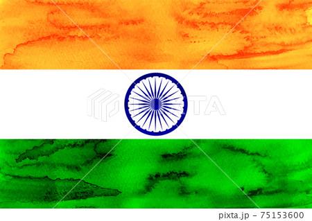 インド  国旗 水彩 和紙 75153600