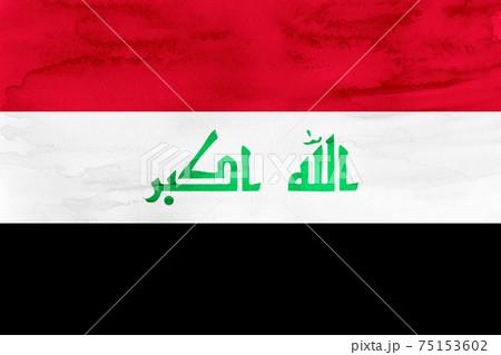 イラク  国旗 水彩 和紙 75153602