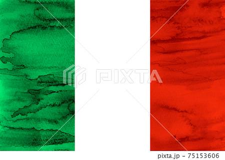 イタリア  国旗 水彩 和紙 75153606