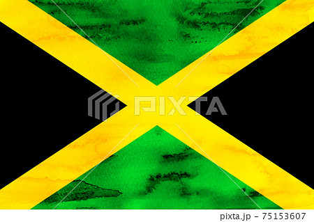 ジャマイカ  国旗 水彩 和紙 75153607
